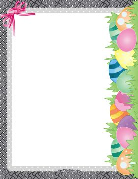 Great for the Easter holiday, this printable border shows an Easter egg hunt with pretty, colorful egg. Free to download and print.