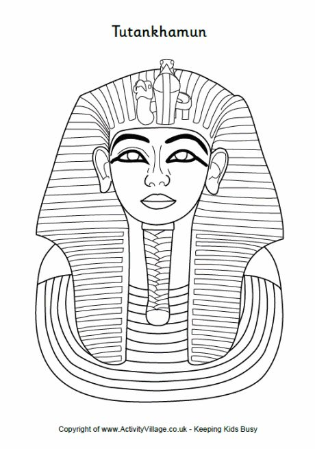 Tutankhamun colouring, Tutankhamun death mask colouring page