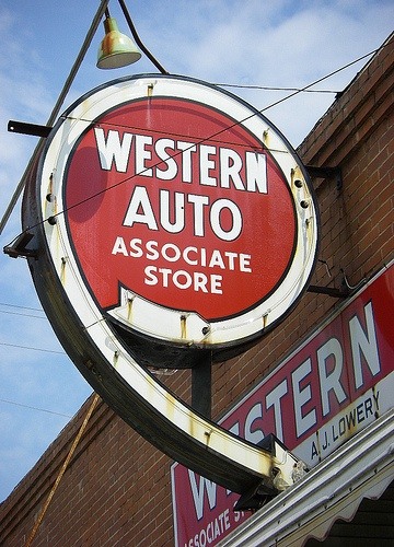 Western Auto...classic neon sign! One is still burning bright in Kansas City, MO. My home town had this sign too. Loved Western Auto!!