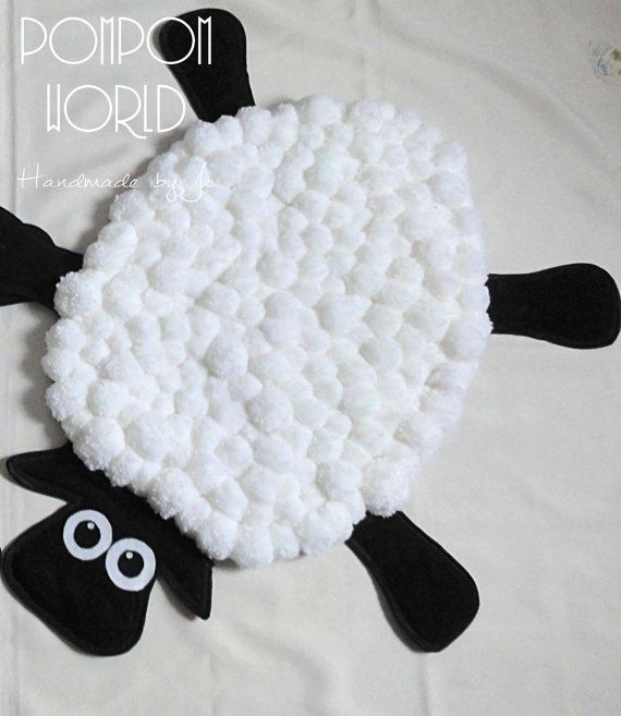 Pom pom rug, Pompom, Sheep, Kids decoration, Home decoration, Christmas gift, White, Black, Animal, Carpet, Nice in touch, Fluffy, Holiday