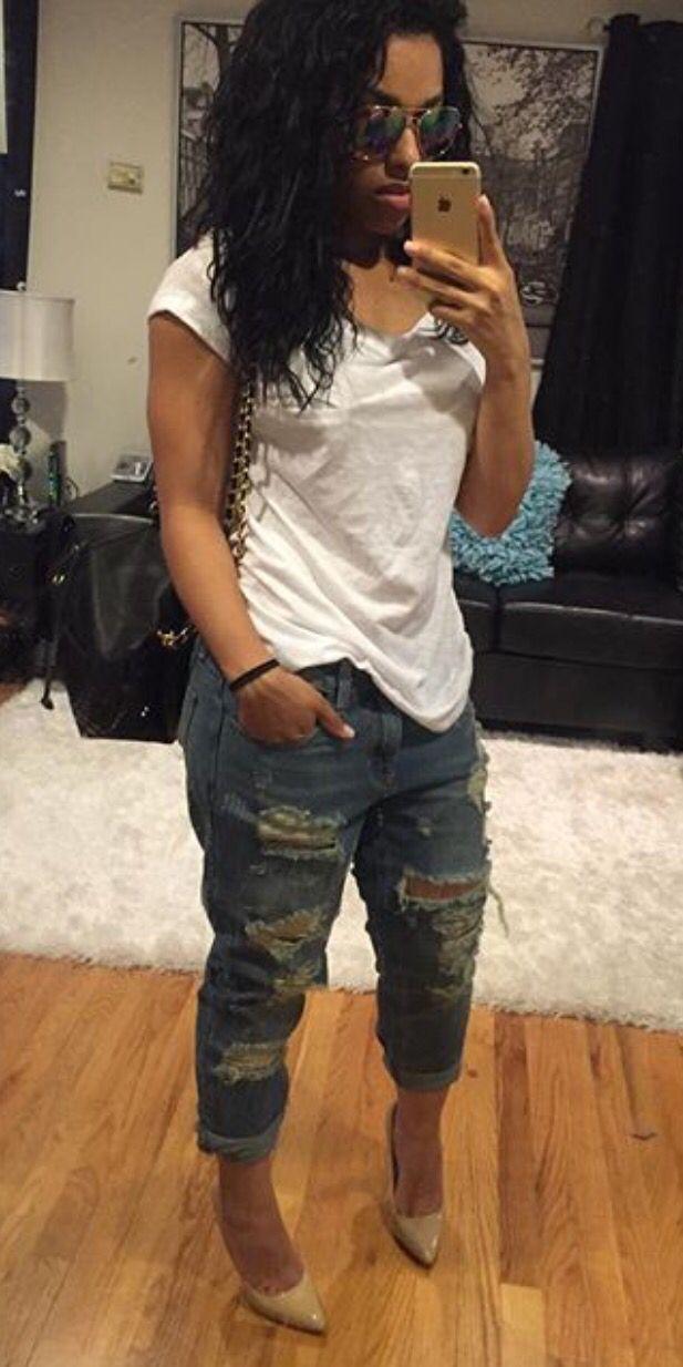 White Tee + Destroyed Boyfriend Jeans