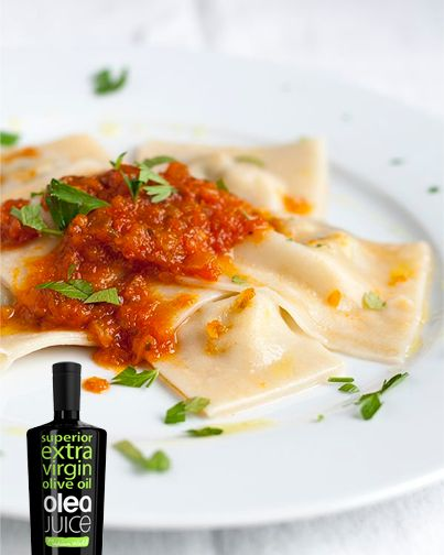 Delicious Ravioli with tomatoe sauce made with Olea Juice award- winning #oliveoil.