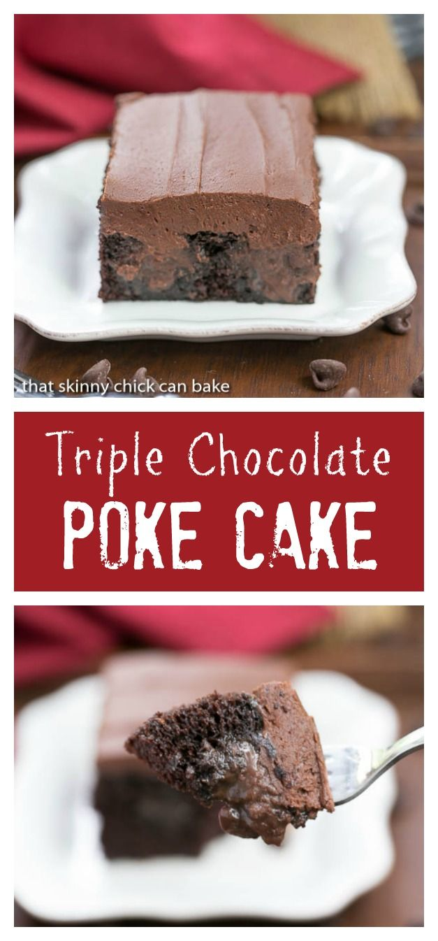 Triple Chocolate Poke Cake | Moist chocolate cake with fudgy filling and chocolate buttercream! @lizzydo