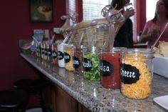 Use mason jars to hold your condiments for your next Baked Potato or Taco Bar Party!