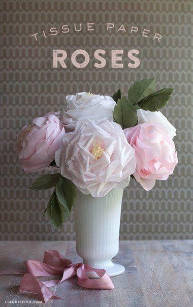 Потрясающие розы из папиросной бумаги своими руками! Мастер-класс - Цветы из ткани и бумаги