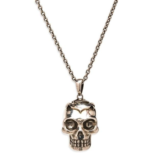 Alexander McQueen Anchor Skull Pendant Necklace ($277) ❤ liked on Polyvore featuring men's fashion, men's jewelry, men's necklaces, apparel & accessories, gold, mens necklaces, mens pendants, mens watches jewelry, mens long necklaces and mens necklace pendants