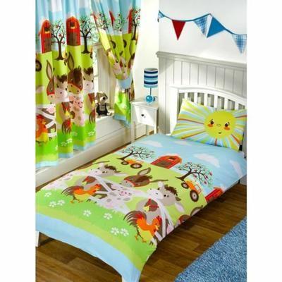 les animaux de la ferme parure de lit housse de couette et taie d'oreiller 120x150 cm