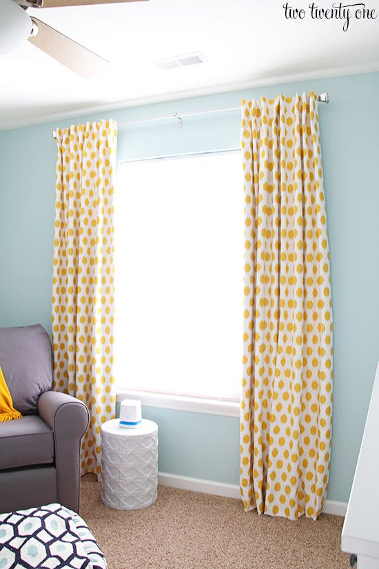 Today I'm sharing how my mom and I made the blackout curtains for Owen's nursery. These were pretty simple to make once we figured out our game plan on how we were going to sew them. I tried my best to show the steps with photos but it was kind of hard because we were dealing with so much fabric. <a href=http://www.twotwentyone.