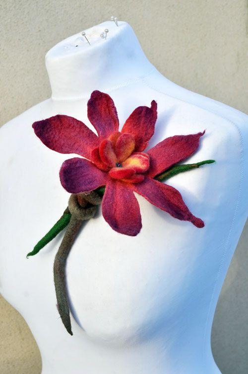 Felt flower, brooch, gift, felt, felted, wool, merino wool, green, orange, yellow, purple, red, pink: