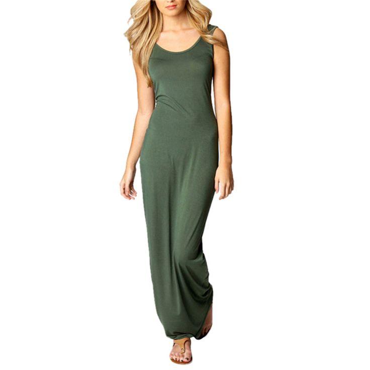 WJ Summer Dress Sexy Women Maxi Dress Solid O-neck Sleeveless Casual Dress Elegant Evening Party Long Dresses Vestidos