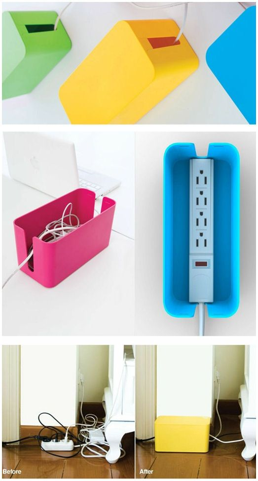 {DIY Idea} Hide Power Strip & Cords in a Plastic Bin #neat
