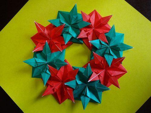 クリスマス 折り紙 クリスマス 折り紙 リース : fi.pinterest.com