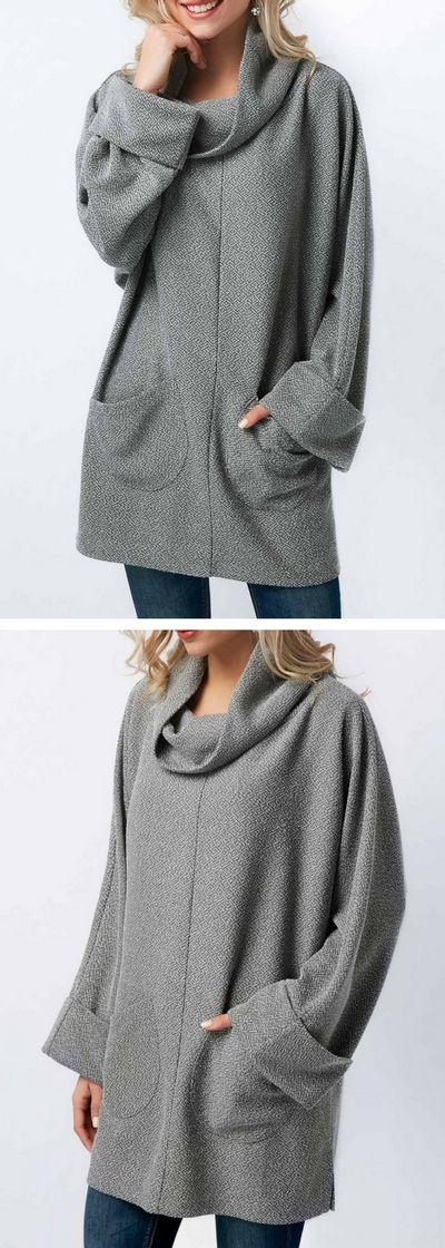 Long Sleeve Pocket Grey Cowl Neck Blouse