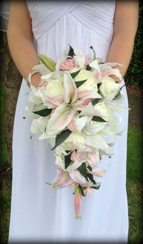 Brides wedding flowers lilly teardrop bouquet of by FlowersbySara, £90.00
