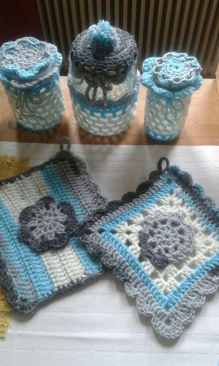 Crochet potholder+ jar