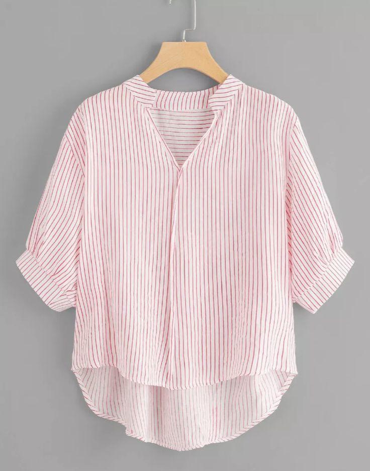 ef7700ff3d4a10 Dip Hem Striped Blouse. Flowy Pink and white stripe top.  pink  stripes   fashion  affiliate  shein