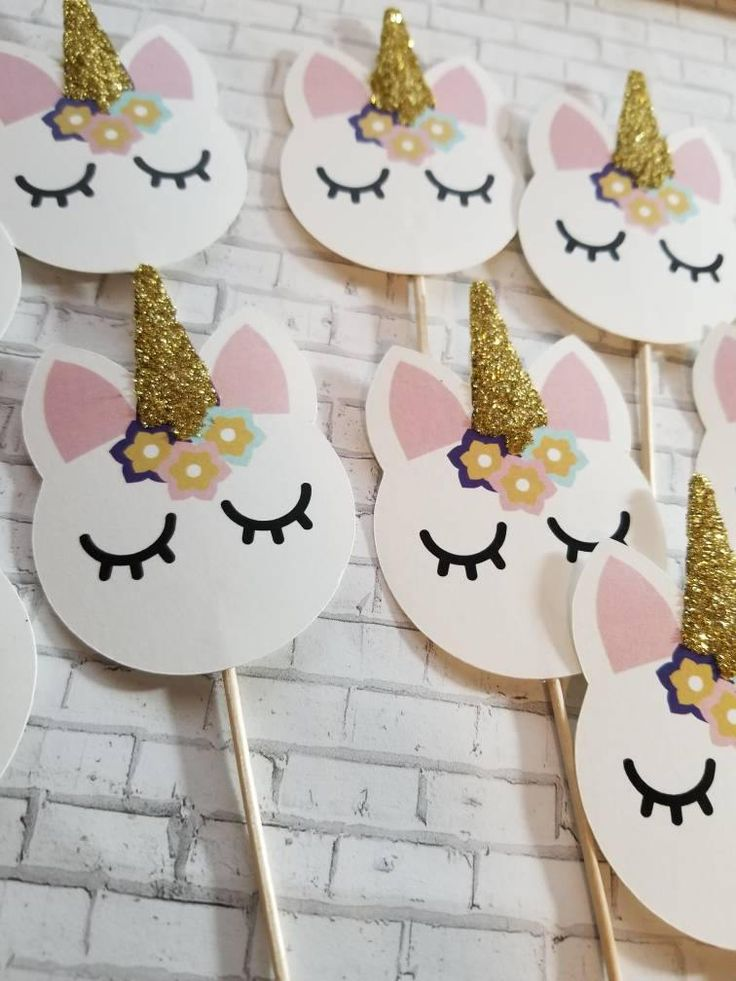 Unicorn Cupcake Toppers Decorations Toothpick Cupcakes Golden Birthday Party