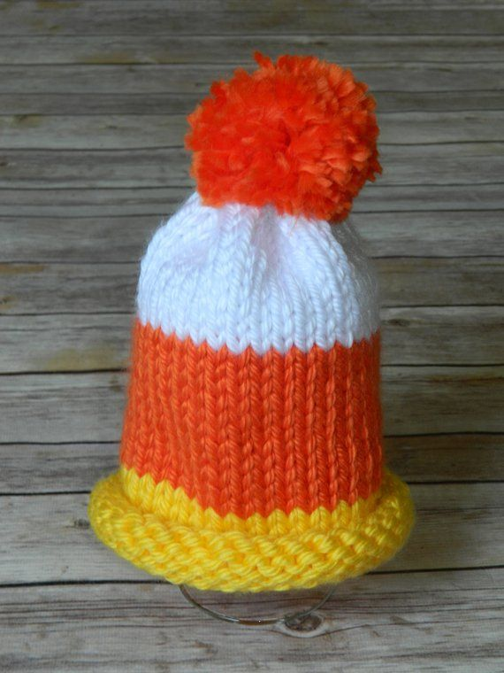 Hand Knit Candy Corn Hat For Baby Boy Or Girl In Orange Yellow And White Size 6 12 Months Halloween Baby Boy Hats Baby Boy Or Girl Handmade