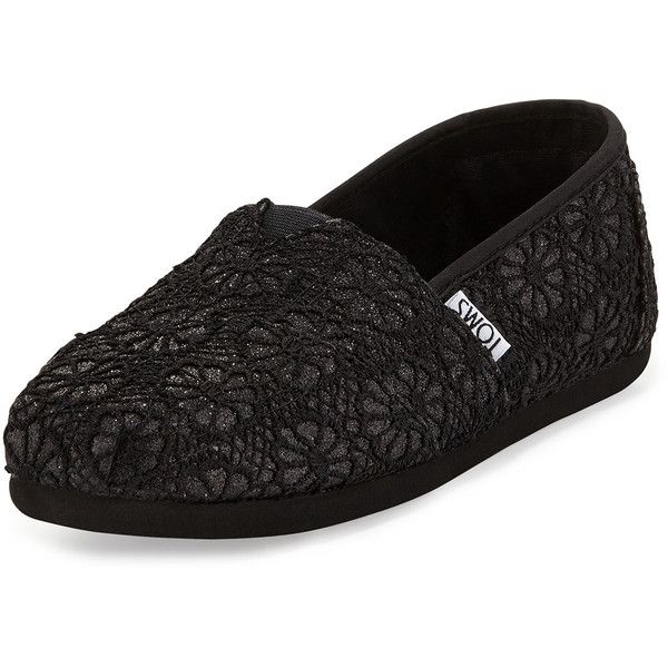 TOMS Classic Glitter Crochet Slip-On ($52) ❤ liked on Polyvore featuring shoes, flats, black glitter, crochet slip on shoes, black glitter shoes, flat pumps, black flat shoes and glitter flats
