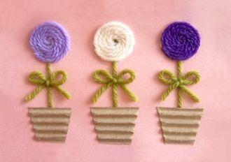 Аппликация цветов из ниток - Сайт для мам малышей