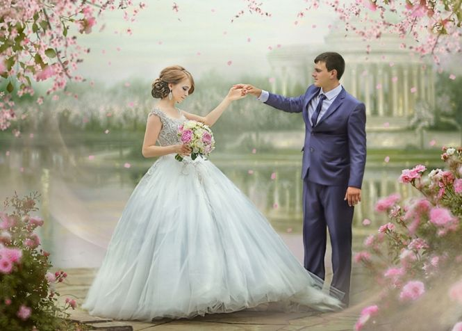 This photo must be straight out of a fairytale storybook! *And the bride has the perfect princess look!