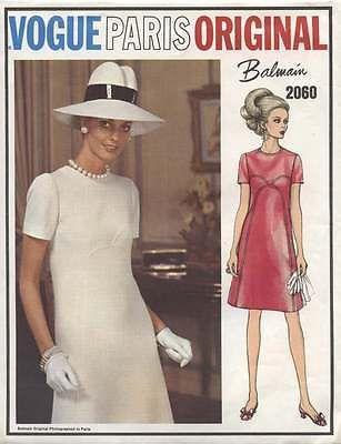 "Vintage Vogue Paris Original ""Mod"" Dress Pattern 2060 from 1960's Size 10   eBay"