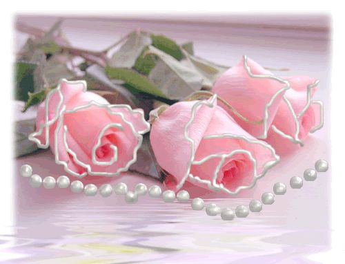 Pink Roses & Pearls pink flowers roses pearls sparkle graphic