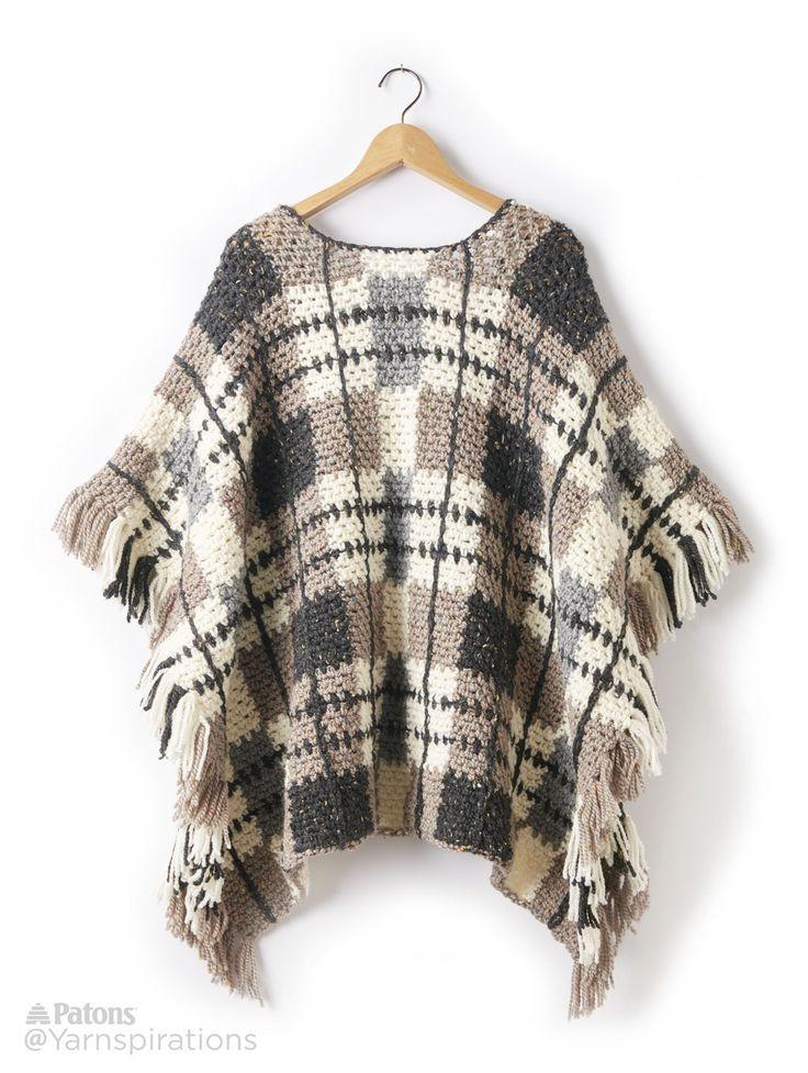 Plaid Blanket Crochet Poncho - Patterns | Yarnspirations