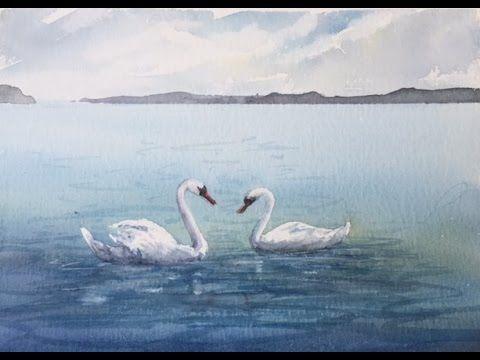 """Рисуем Лебедей из фигуры """"2"""", легко, Акварель.Painting Swans using figur..."""