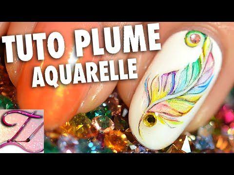 """Tuto nail art plume multicolore en peinture aquarelle"" - beautiful nail art tutorial (all in french but pretty self explanatory)"