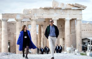 President Barack Obama makes a speech at the Stavros Niarchos Foundation Cultural Center in Athens, Greece **** **** **** President Barack Obama walks from the Propylaia with Eleni Banou, Ministry …