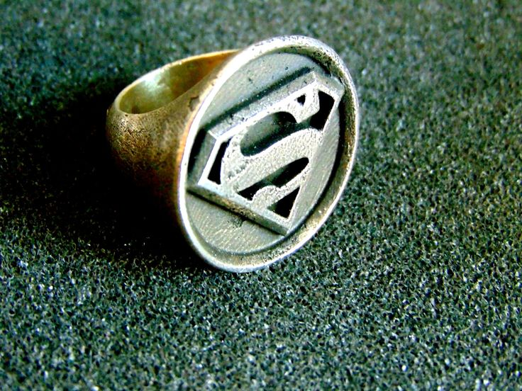 Stunning silver Superman ring-Sterling silver superhero men's ring-Superman signet ring-Superman symbol ring-Artisan jewelry by ArchipelagosBreeze on Etsy