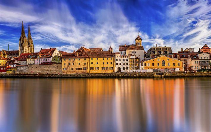 Descargar fondos de pantalla Ratisbona, panorama de la ciudad, las casas viejas, terraplén, Alemania