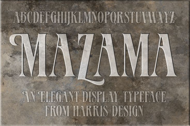Mazama Regular is a beautiful all-uppercase display font with several alternate swash characters. Mazama Regular is the perfect font to use for headlines, magazine titles, logos, or anywhere