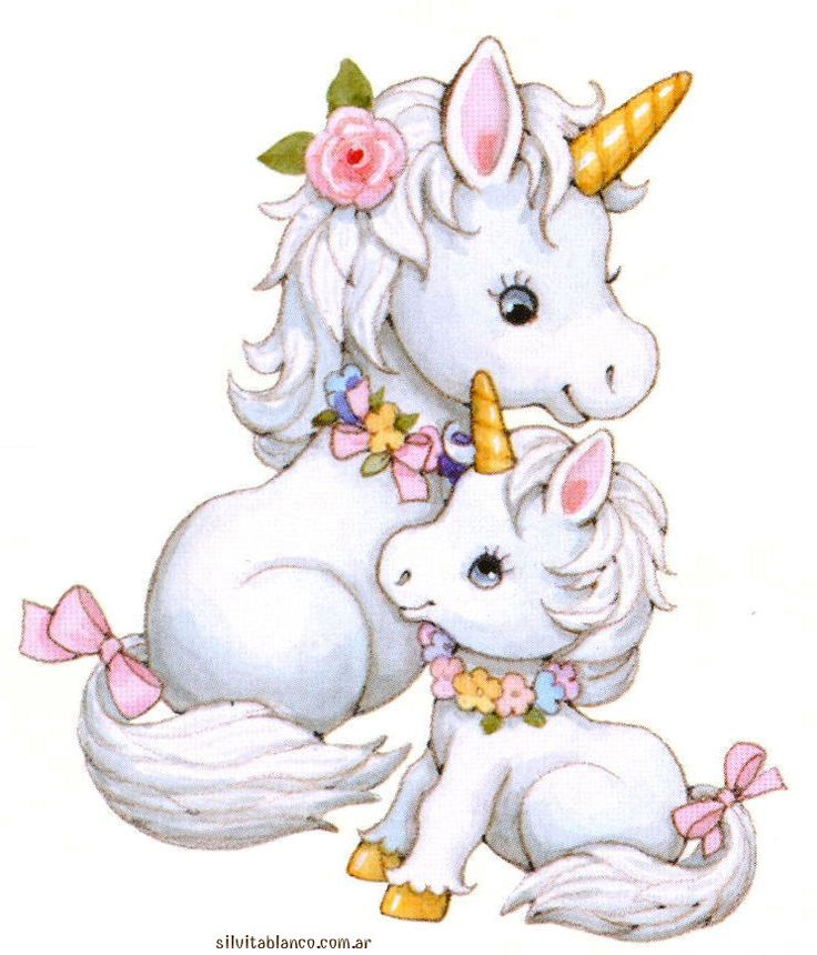 Artwork Of Mommy Unicorn And Baby Great For Gift Card Or Decal Picture Art