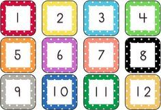 FREE Polka Dot Calendar Numbers - 3 pages