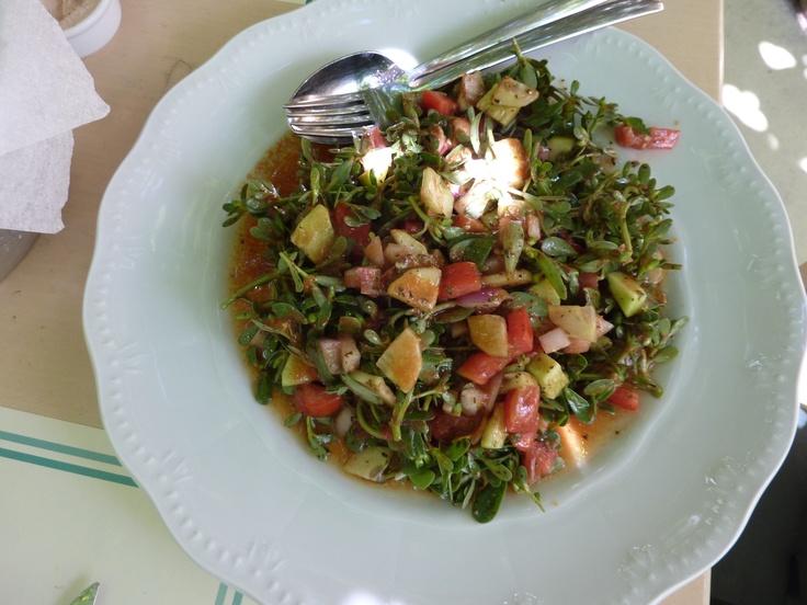 Wonderful salad at Le petit bateau restaurant, tinos greece