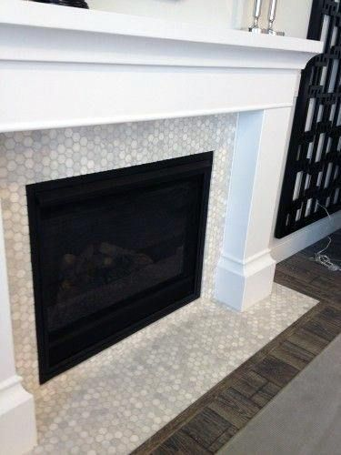 Small Tiles Pattern Fireplace Mantel Design Ideas