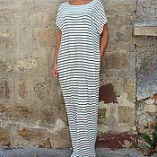 Одежда ручной работы. Ярмарка Мастеров - ручная работа Черно-белое полосатое длинное летнее макси платье, кафтан. Handmade.