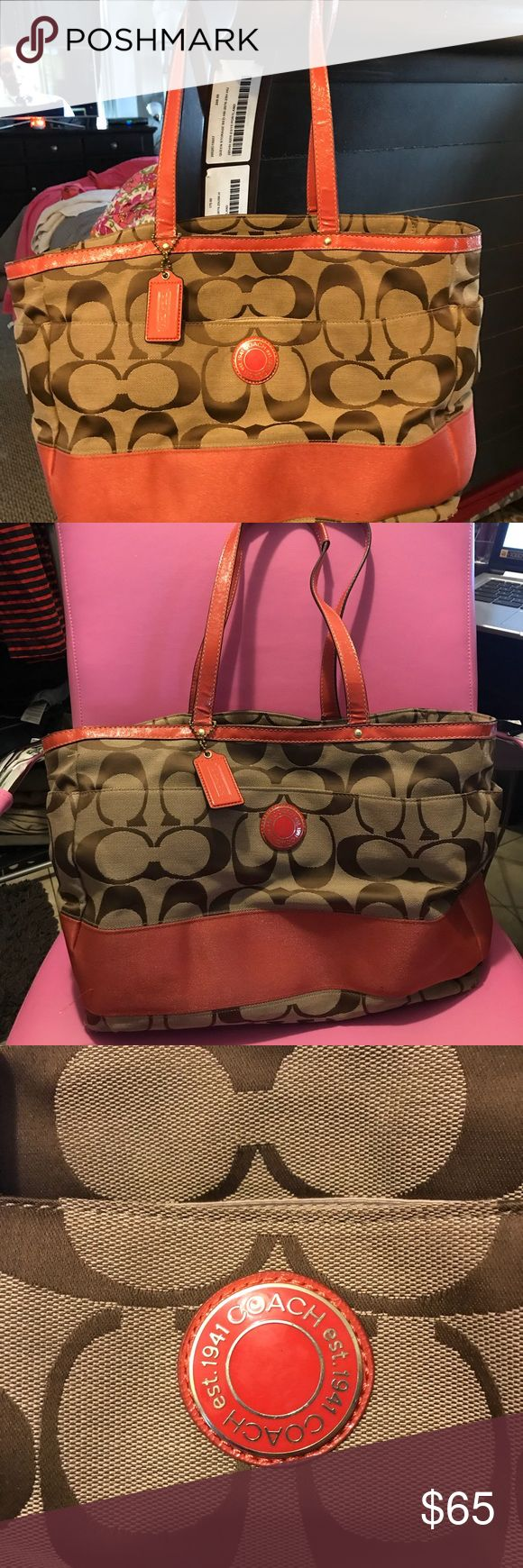Coach diaper bag with crossbody attachment In used condition, used it as a diaper bag and LOVED IT wear in the inside could use a good wash down but was very well loved! Coach Bags Baby Bags