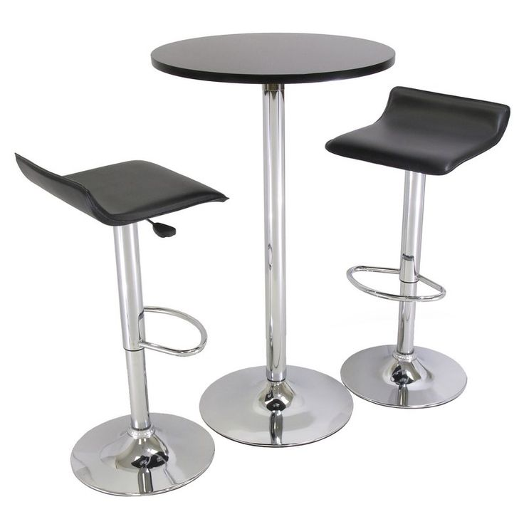 Enjoy cocktails and conversation around this contemporary pub table set, featuring a black surface, chrome-toned finish, and coordinating adjustable stools.