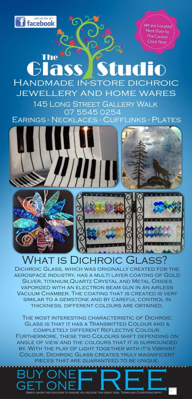 The Glass Studio on Tamborine Mountain is full of one of a kind handmade dichroic jewellery and home wares. Each of our creations carries the Australian Made Logo. For more information visit http://ticketsandtours.com.au/travel/the-glass-studio/