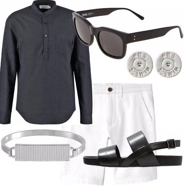 """Outfit se ami lo stile del tuo stile, se ami portare gioielli come questo bracciale o questi orecchini in acciaio, occhiale nero come il sandalo spartano in black. Pantaloncino bianco fresco e camicia da indossare con le maniche """"arrotolate"""" fino al gomito."""