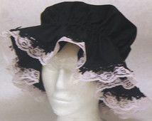 Black Cotton Mop/ Mob Cap, Grannie Hat, Martha Washington Cap with Narrow 'Leaf' Lace Edging & Pale Pink Lace, Elastic Casing