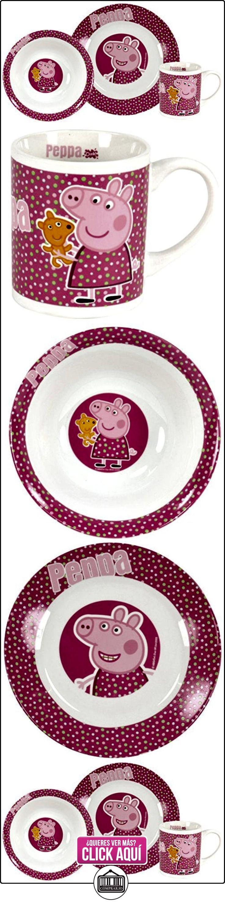 Peppa Pig - Set de desayuno porcelana: plato, bol y taza, color rosa (United Labels 810552)  ✿ Peppa Pig - Peppa La Cerdita ✿ ▬► Ver oferta: https://comprar.io/goto/B00DYRSD00