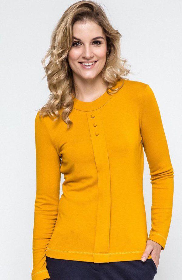 Ennywear 240074 bluzka Klasyczna bluzka w musztardowym kolorze, okrągły dekolt na stójce, rękaw długi
