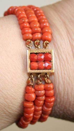 Antique Victorian 18K Rose Gold Coral Clasp 3 String Deep Salmon Coral Bracelet   eBay
