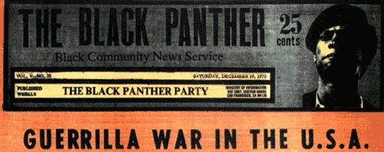 This is a picture from the front page of the Black Panther Magazine.  Bobby Seale and Huey Newton co-founded the Black Panthers in Oakland, California. Unlike the civil rights activists who preach non-violence, the Black Panthers authorized the use of violence as self-defense. The creation of this organization marked a shift in the civil rights movement.  It began to stray away from its non-violent platform. #BlackPanthers #HueyPNewton #Black Power #BobbySeale