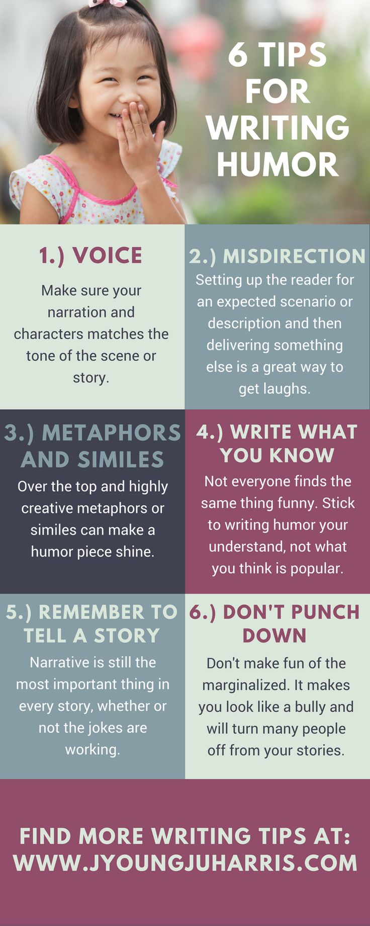 Some #writingtips for those who want to write more humor stories or scenes: https://jyoungjuharris.com/2016/11/30/6-tips-for-writing-humor/