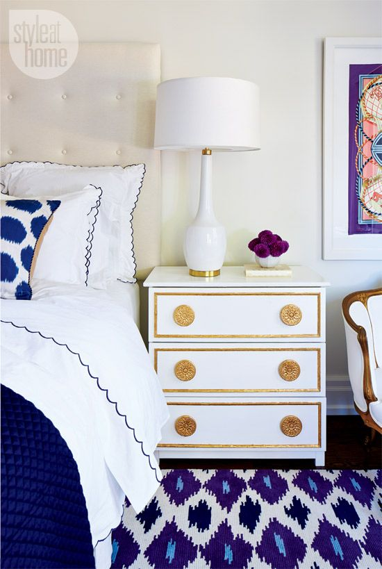 I've got the blues for this bedroom! Loving the different shades of blues mixed with gold and white!